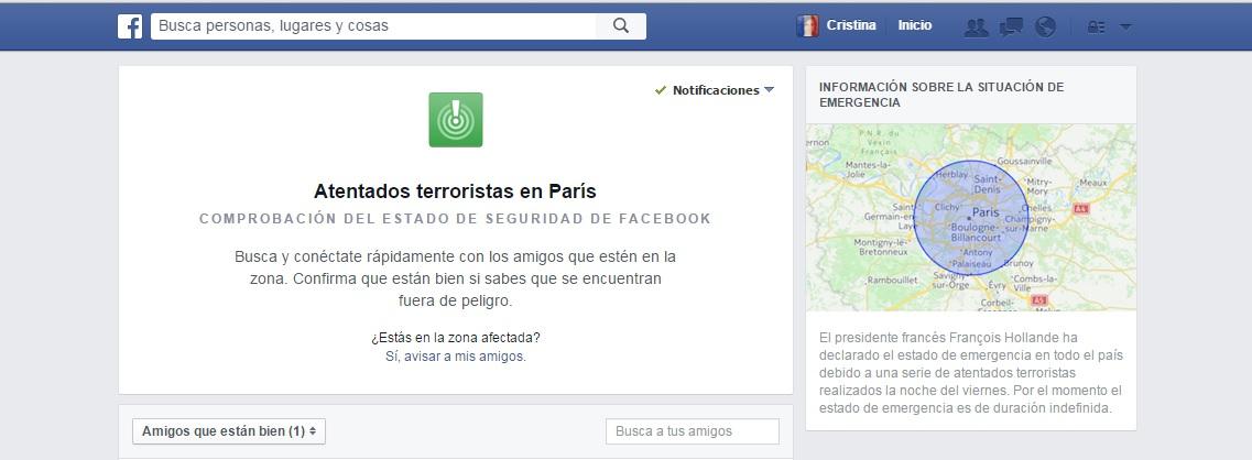 atentados de paris facebook activa su comprobacion de estado de seguridad