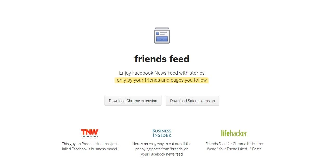 Limpia tu feed de Facebook con Friends Feed