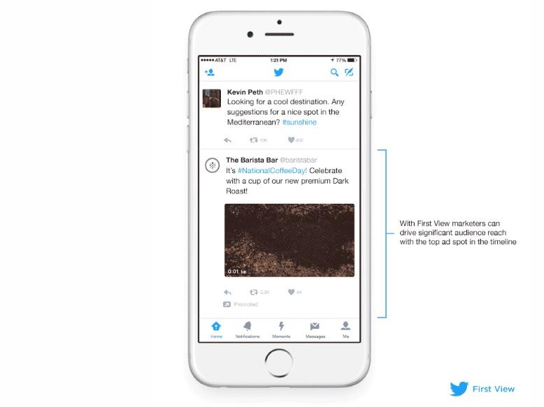 Twitter presenta First View nuevo formato publicitario basado en video