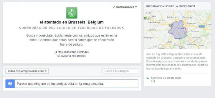 Facebook activa el estado de seguridad por ataques de Bruselas