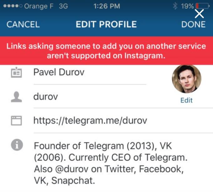 Instagram elimina los links que enlazan a otras redes sociales
